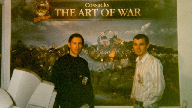 Oleg Jaworski (ówczesny PR-manager GSC Game World) i Siergiej Grigorowicz na ECTS 2001